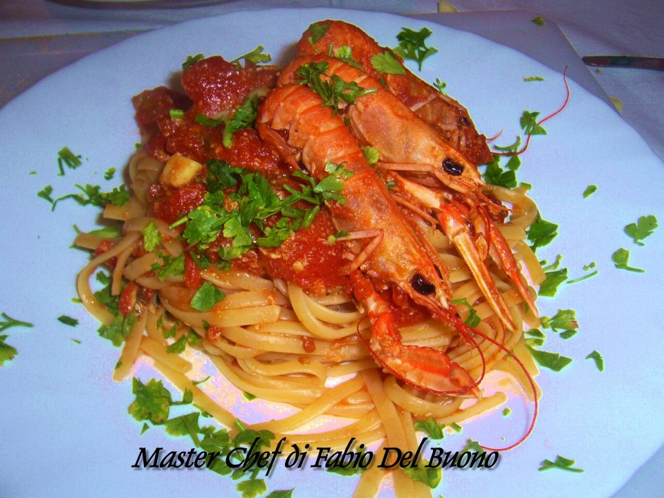 Linguine agli scampi fabio master chef for Cucinare scampi