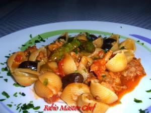Conchiglie con Salsiccia, Asparagi e Oloive Nere