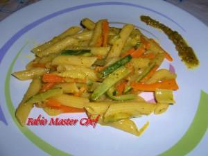 Penne con Carote, Zucchine, Cipolla e Pesto di Pistacchio